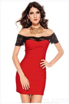 New Arrival Sexy Boat Neck Short Sleeve Bodycon Dresses Clubwear - Storedress.com on Wanelo