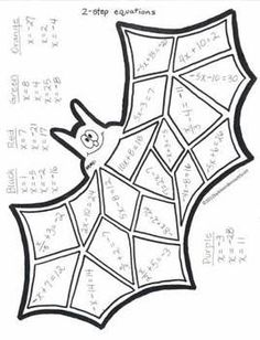 """Math practice in a """"color by number"""" manner. Skills and pictures in this file include: adding and subtracting one-step equations (GHOST), two ste. Algebra Activities, Maths Algebra, Math Resources, Ks3 Maths, Math Vocabulary, Camping Activities, Math Worksheets, Math Teacher, Math Classroom"""