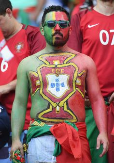 A Portugal fan enjoys the atmosphere prior to the UEFA EURO 2016 Final match between Portugal and France at Stade de France on July 2016 in Paris, France. Soccer World, Soccer Fans, Portugal, Uefa Euro 2016, We Are The Champions, Lifestyle Sports, International Football, European Championships, July 10