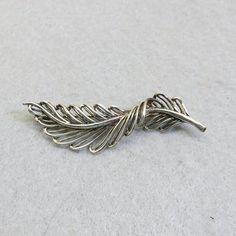 Vintage Sterling Silver Leaf Brooch Open Design