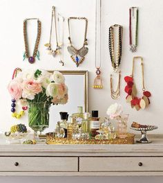 Jewelry.  *This looks like my current jewelry display with my old dresser display from my last apt.