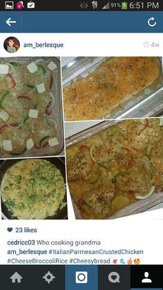 Italian Parmesan Crusted baked Chicken; Cheese Broccoli; Garlic Cheesy Bread ❤