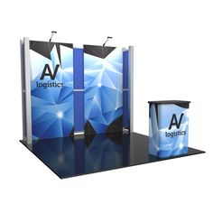 """114.13""""w x 94.5""""h x 19.63""""d aluminum extrusion frame 2 x push-fit fabric graphic panels 6 x rigid graphic accents 2 x Lumina 200 LED floodlights 2 x OCH2 cases"""