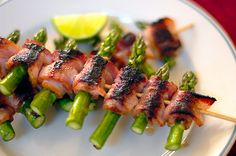 grilled bacon wrapped asparagus skewer...mmm....