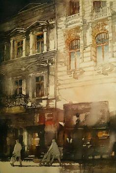 Jacek Jaroszewski- Lodz, ul.Piotrkowska- watercolour 53x36cm, 2016