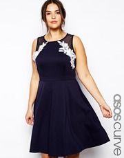 ASOS CURVE Exclusive Skater Dress With Applique Lace Trim