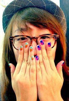 Nail log: March 16, 2013. Short gel nails - color blocks!