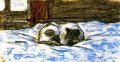 Claude Monet - Cat Sleeping on a Bed - 1865.