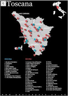 Toscana Wine Map DOC DOCG