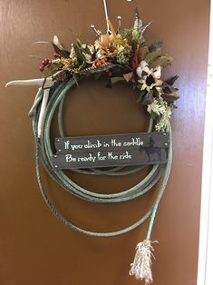 Excited to share this item from my etsy shop: Cowboy Rope Wreath's with Signs/Sayings (Prices will vary) homedecor entryway wreath ropes 334533078568233004 Cowboy Home Decor, Western Bedroom Decor, Western Rooms, Cowgirl Bedroom, Cowgirl Nursery, Western Curtains, Western Nursery, Cowboy Room, Country Decor