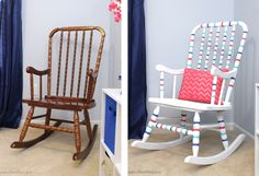 before and after easy painted rocking chair