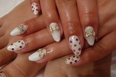 Japanese Nail Art Manicure White Polkadot Bow