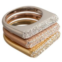 Baby Stack Ring. Boasting three rows of shimmer pave diamonds, the Baby Stack Ring from Donald Huber is versatile yet chic. 4,650.00