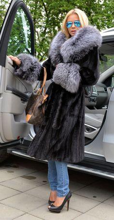 Black Superior Saga Mink Fur Coat Silver Fox Hood Trench Jacket Sable Quality | eBay