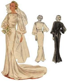 #T8331 - 1930s Wedding or Evening Gown Sewing Pattern - Retro Glamour