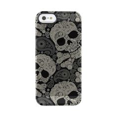 Vintage Sugar Skull Pattern Uncommon Clearly Deflector iPhone 5 Case ($43) ❤ liked on Polyvore featuring accessories and tech accessories