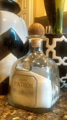 Store salt in an empty patron bottle