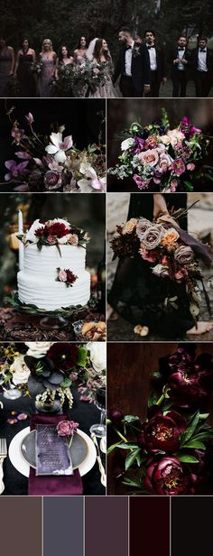 8 Chic Moody Wedding Color Palettes That Celebrate the Season Modern moody wedding chic black wedding place settings mixed and match purle wedding bouquets moody color palette October Wedding Colors, Winter Wedding Colors, Wedding Bridesmaids, Wedding Bouquets, Wedding Flowers, Bridesmaid Dresses, Bridesmaid Color, Chic Wedding, Dream Wedding