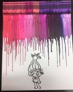 Troll Crayon Painting Art by OnceUponACrayon on Etsy