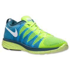 Men's Nike Flyknit Lunar2 Running Shoes | FinishLine.com | Volt/White/Blue