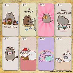 Lovely Pusheen Cat sweety hard clear Cases cover for Apple iPhone 7 6 6s Plus SE 4s 5 5s 5c plastic phone case