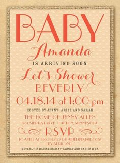 Charming Craft: Orange Sherbet - Baby Shower Invitations in Orange Sherbet   Picturebook