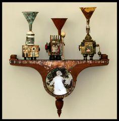 recycle, upcycle, reuse - art, assemblages by annie morgan
