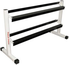 """Deltech Fitness Two Tier 54"""" Dumbbell Rack. Heavy Gage Steel Tubing. Durable Black and White Powdercoat Paint. Holds hex style dumbbells. 1/4"""" Angle Iron on Cross Members. Free Shipping to the contiguous United States!!!."""