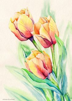 Items similar to tulip painting, tulip art, red tulips, tu Watercolor Pictures, Watercolor Trees, Watercolor Cards, Watercolor Landscape, Floral Watercolor, Watercolor Paintings, Simple Watercolor, Tattoo Watercolor, Watercolor Animals