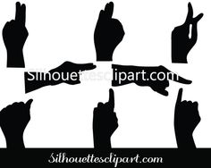 Human Hand Sign Silhouette Vector Illustration - Silhouette Clip Art