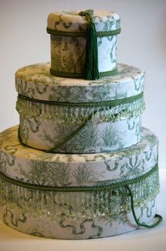 DIY SHABBY CHIC HAT BOXES | decor for a shabby chic room 3 green cream toile boxes large box ...