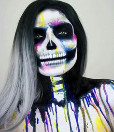 I love this skull makeup with dripping colors omg