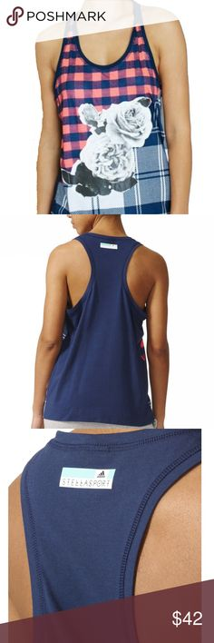 Adidas STELLASPORT Cotton Tank Women's Indigo Adidas STELLASPORT Cotton Tank Women's Indigo & Flash Red Size M  Adidas By Stella McCartney Multicolor Women's Stellasport Cotton Tank 97% polyester / 3% elastane single jersey Climalite fabric sweeps sweat away from your skin Loose fit Comfortable and stretchable polyester blend fabric Adidas by Stella McCartney Sweaters