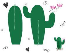 Molde #1 para hacer cactus de papel . Imprime recorta, pega y listo.  #cactus…