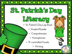 St. Patrick's Day, is a day to wear green. Do you know why? Who was St. Patrick? Your kids will find out the answers to these questions and more information about St. Patrick's Day with this unit, as well as, practice the literacy skills of homophones, r-controlled vowels, comprehension and creative writing.