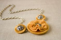 Mustard Felt Flower Washer Statement Necklace- Dijon Daisy (from etsy)