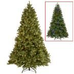 9 ft. Downswept Douglas Fir Artificial Christmas Tree with Dual Color LED Lights, Greens
