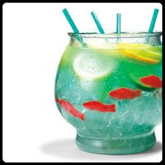 Fishbowl cocktail - So sweet, figuratively and literally. Fish bowls!  ½ cup Nerds candy  ½ gallon goldfish bowl  5 oz. vodka  5 oz. Malibu rum