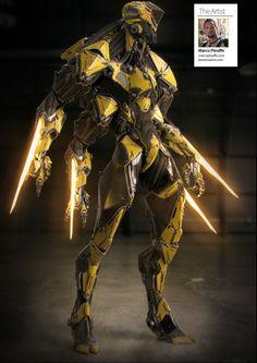 "Dustrial, Cyberpunk Clothing & Apparel — edgertttechnology: ""W."" by Marco Plouffe Arte Ninja, Arte Robot, Fantasy Character Design, Character Concept, Character Art, Robot Concept Art, Armor Concept, Arte Sci Fi, Futuristic Armour"