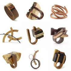 some breathtakingly beautiful wooden rings, bracelets and brooches  from gustav reyes