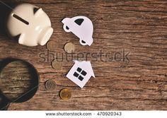 piggy bank with money on black background. Concept dream big