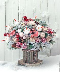 Купить Зимний букет со снеговиками - розовый, зимний букет, композиция, снеговики, Новый Год