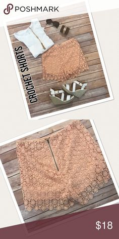Peach Medallion Crochet Shorts Beautiful and feminine!  These peach shorts are soon going to be your all time favorite!  Can be dressed up or worn casually. They have a good amount of stretch to them too!  Size Medium Charlotte Russe Shorts