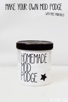 DIY Mod-Podge Decoupage |ALTERNATE VERSION - Some reviews suggest using 3:1 ratio of glue to water. | ALL NATURAL VERSION - Mix 1 1/2 cups flour, 1/4 cup granular sugar, 1/4 tsp vegetable or olive oil & 1 cup distilled water (can add more oil, or substitute vinegar, for desired level of varnish/shine). Store in air-tight jar or container for up to 2 weeks.