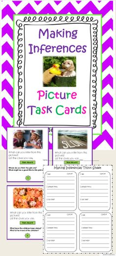 Your kids will have fun mastering the tricky strategy of Making Inferences. These picture task cards each have thinking questions and a Think Sheet for recording their answers. Great for literacy centers, partners, small group, preteach, review and more. Blank cards included for your kids to create their own game extension. $