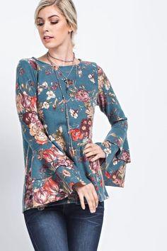 Floral Printed Brush Knit Top