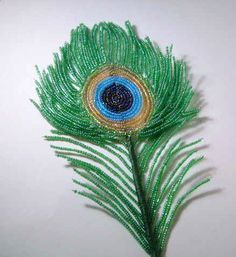 French beaded Peacock Feather
