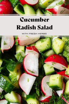 Cucumber Radish Salad with Fresh Herbs. This salad is easy to make with only a few simple ingredients. The olive oil and lemon vinaigrette keep the flavors fresh and perfect for summer. Great as a side or as is served with a choice of protein! Cut your radishes and cucumbers very thinly for more of a slaw texture or into bigger pieces for a simple and quick salad. #radishsalad #radishes #summerrecipes