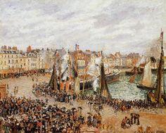 The Fishmarket, Dieppe - Grey Weather, Morning. (1902). Камиль Писсарро