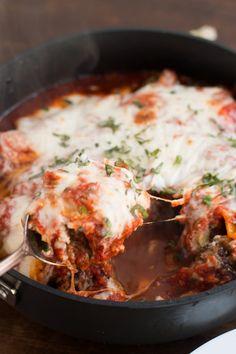 Amazing meatball lasagna skillet ohsweetbasil.com